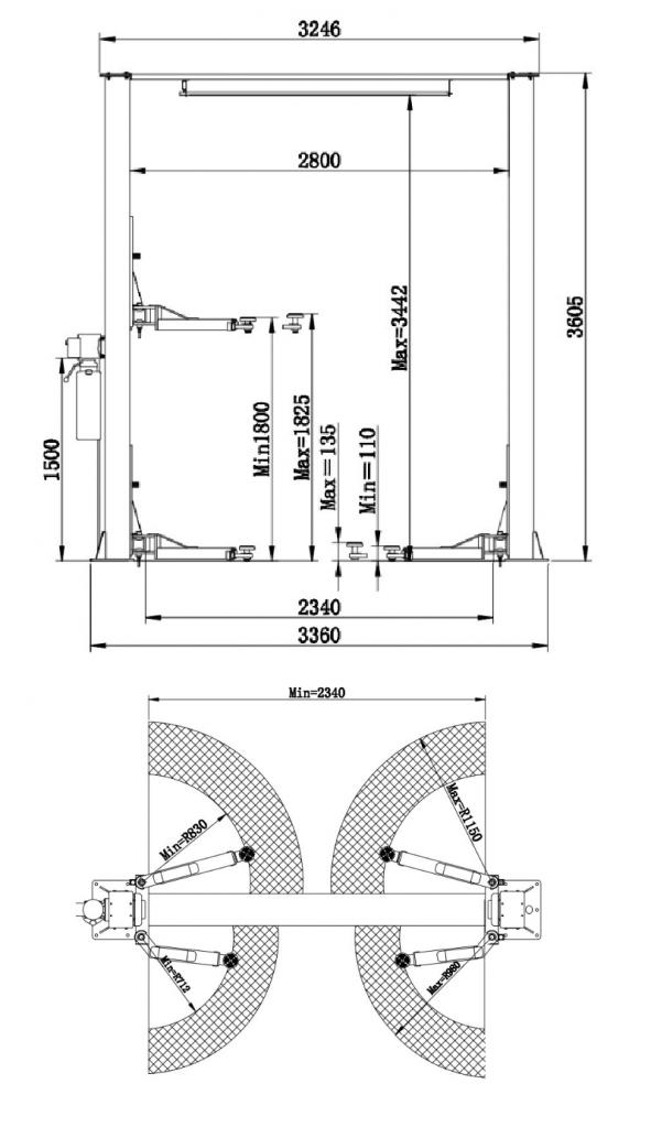 Размеры двухстоечного подъемника ROSSVIK V2-4L